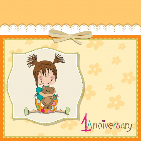 little girl on the first anniversary Stock Vector - 14491257
