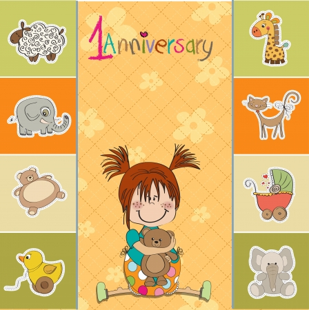 little girl on the first anniversary Stock Vector - 14495135