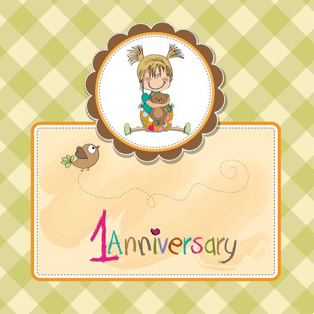 first birthday: little girl sitting with her teddy bear, first birthday card
