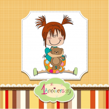 little girl on the first anniversary Stock Vector - 14491259