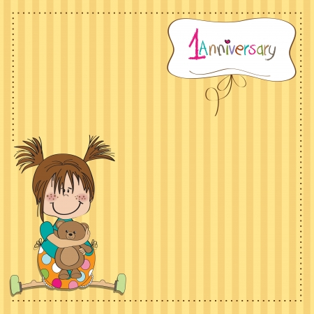 baby playing toy: little girl on the first anniversary