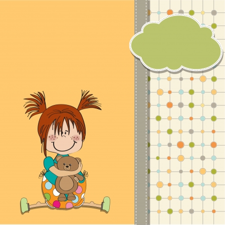 niña sentada con su osito de peluche
