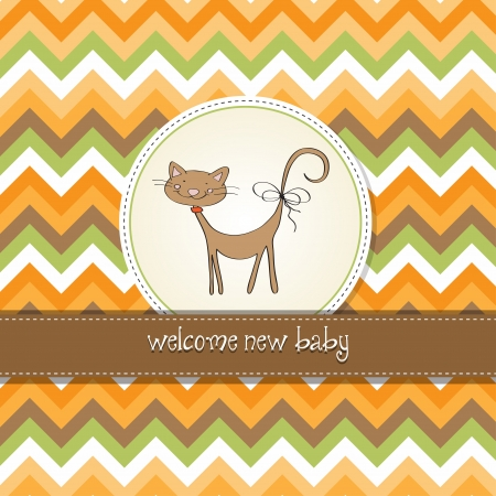 new baby shower card with cat Stock Vector - 14492975