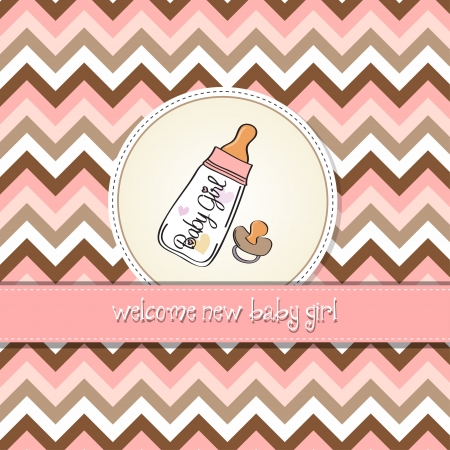 dummies: new baby girl announcement card with milk bottle and pacifier Illustration
