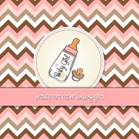 nueva chica del aviso del bebé tarjeta con botella de leche y el chupete