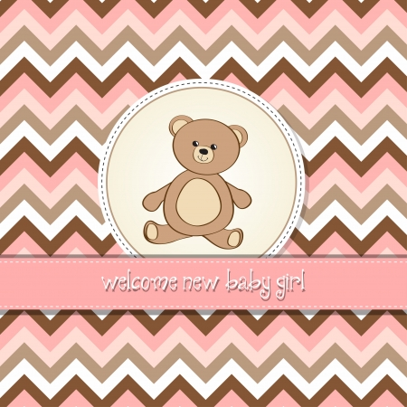baby illustration: baby shower card with teddy