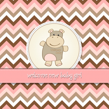 new baby girl announcement card with hippo Vector