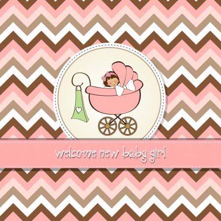 new baby girl announcement card Stock Vector - 14495099