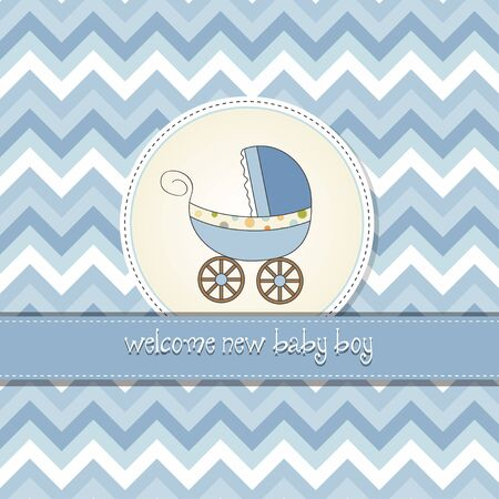 delicate baby shower card with pram Vector
