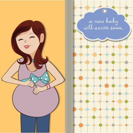 single mother: happy pregnant woman, baby shower card
