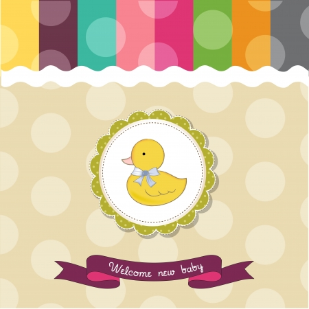 baby shower card with duck Vector