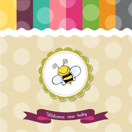 uitnodigen: babydouche kaart met grappige kleine bee