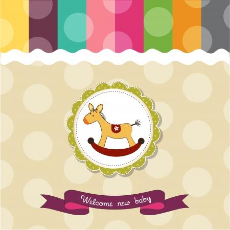 schommelpaard: babydouche kaart met hobbelpaard