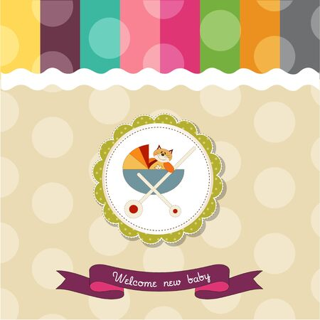 funny baby shower card with pram and cat toy Vector