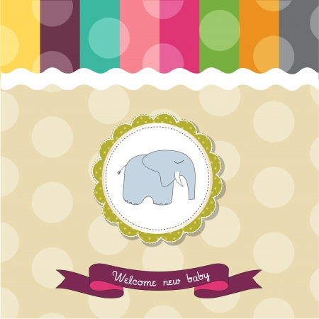 Baby shower card template with elephant Vector