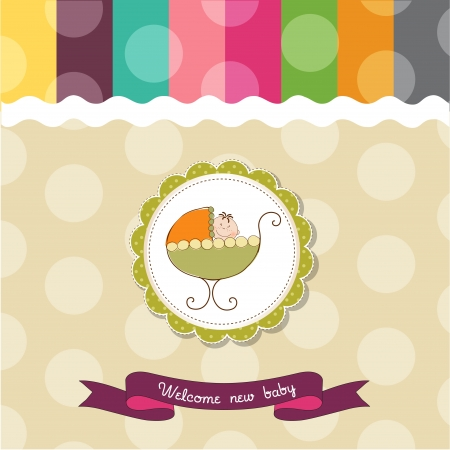 nice girl: baby shower card with baby and pram