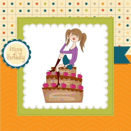 sexy young woman sitting on a big cake Stock Vector - 14605044