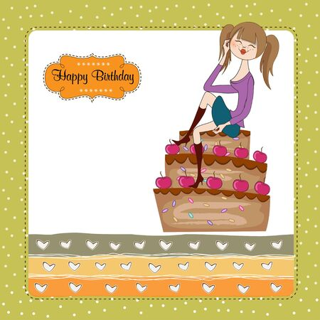 sexy young woman sitting on a big cake Vector