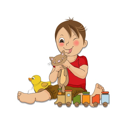 suspenders: little boy are playing with his toys Illustration