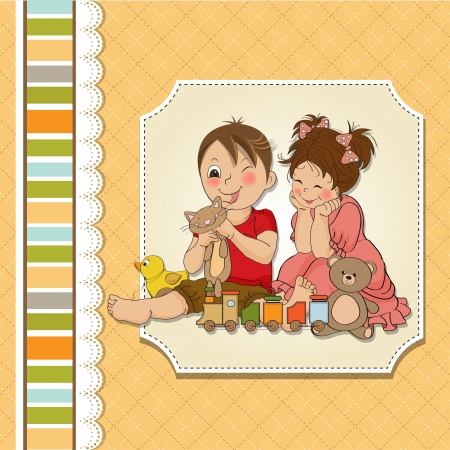 boyish: girl and boy plays with toys Illustration