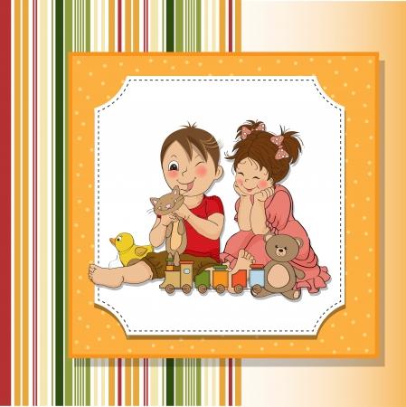 boyish: girl and boy plays with toys Illustration