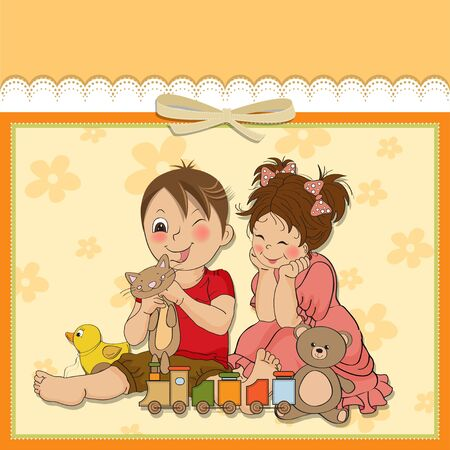 puerile: girl and boy plays with toys Illustration