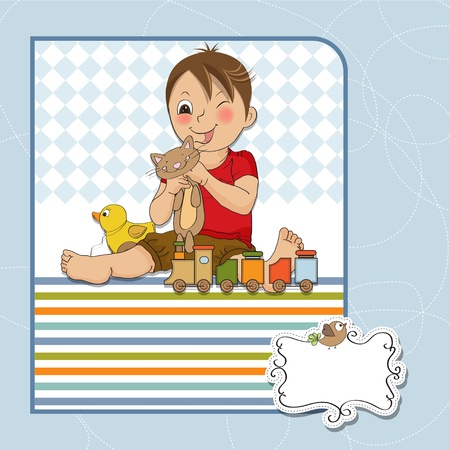 sling: little boy are playing with his toys Illustration