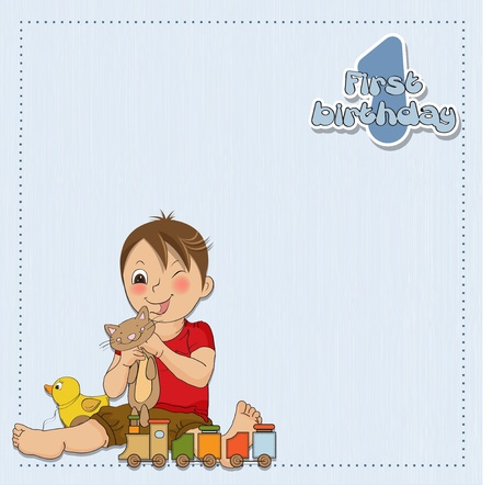 little boy are playing with his toys on his first birthday Vector