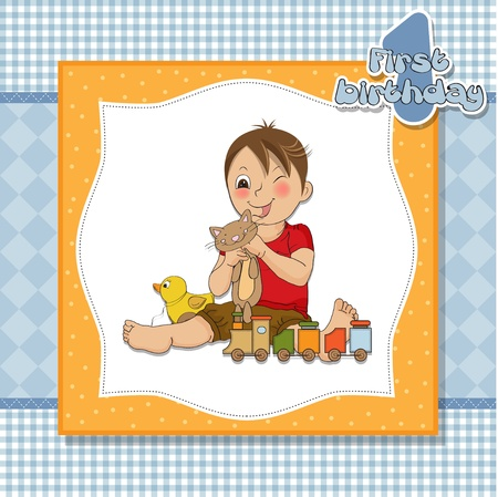 little boy are playing with his toys on his first birthday Stock Vector - 14604876