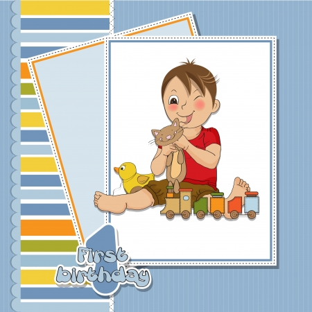 braces: little boy are playing with his toys on his first birthday Illustration