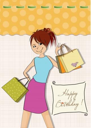 shoppingbag: pretty girl at shopping Illustration