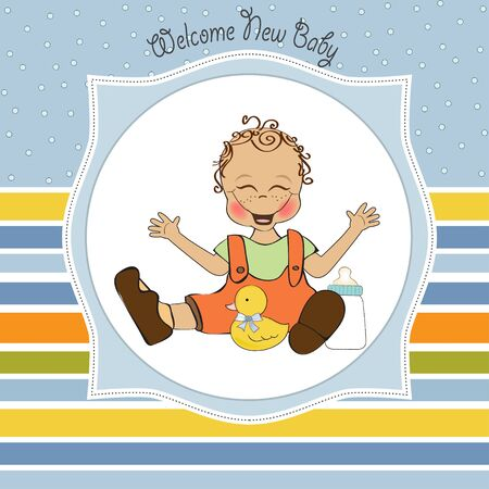 baby boy playing with his duck toy, welcome baby card Stock Vector - 14662029