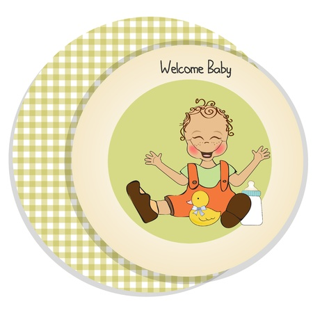 baby boy playing with his duck toy, welcome baby card Stock Vector - 14662023