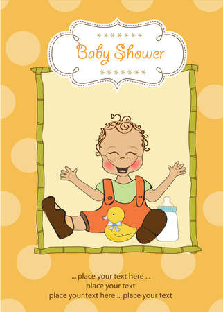 baby boy playing with his duck toy, welcome baby card Stock Vector - 14662031