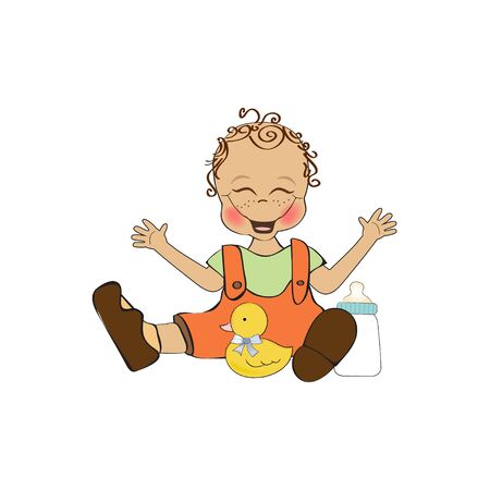 baby boy playing with his duck toy, welcome baby card Stock Vector - 14662011