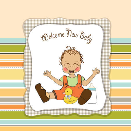 baby playing toy: baby boy playing with his duck toy, welcome baby card