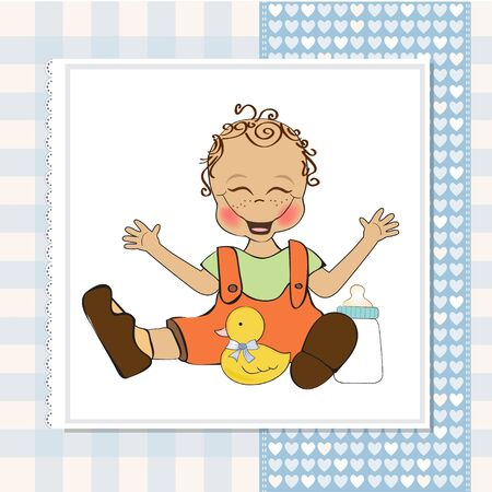 baby boy playing with his duck toy, welcome baby card Stock Vector - 14662027
