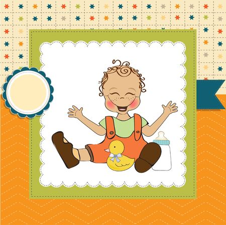 baby boy playing with his duck toy, welcome baby card Stock Vector - 14662030