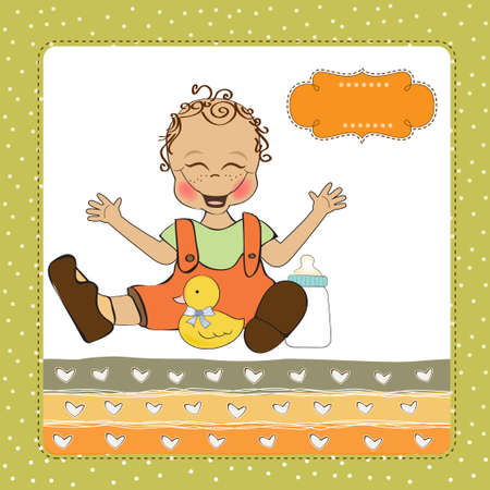 baby boy playing with his duck toy, welcome baby card Stock Vector - 14662028