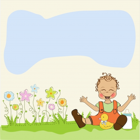 baby boy playing with his duck toy, welcome baby card Vector