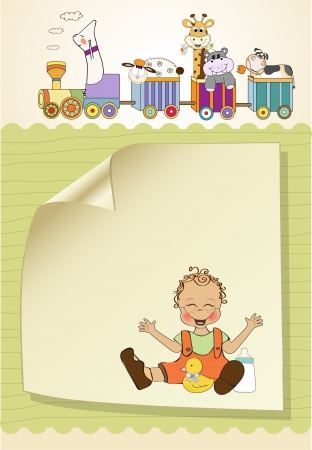 baby boy playing with his duck toy, welcome baby card Stock Vector - 14662038