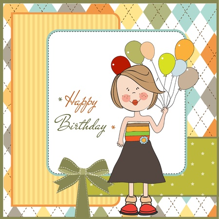 happy healthy woman: happy birthday card with funny girl Illustration