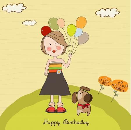 happy birthday girl: Funny girl with balloon, birthday greeting card