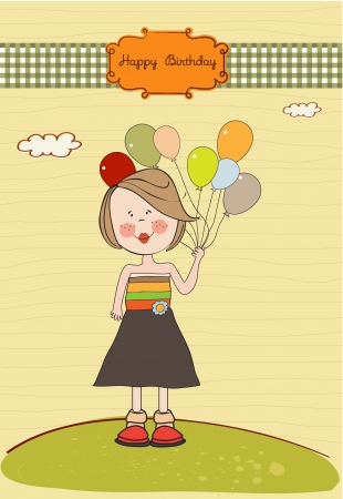 feliz cumplea�os caricatura: Funny girl con la tarjeta de cumplea�os del globo, un saludo