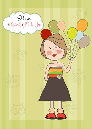 Funny girl with balloon, birthday greeting card Vector