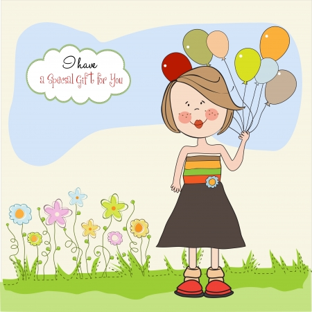 Funny girl with balloon, birthday greeting card Stock Vector - 14662008