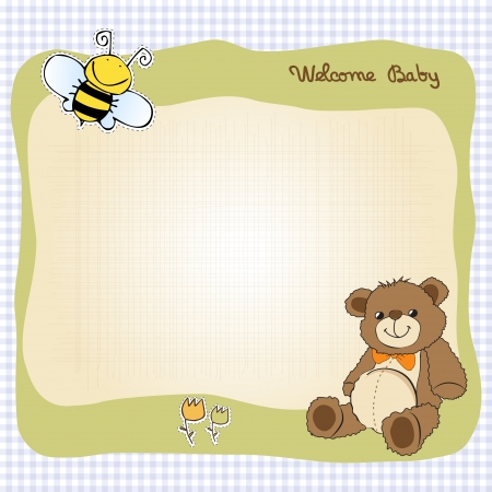 baptism: baby shower card with cute teddy bear toy Illustration