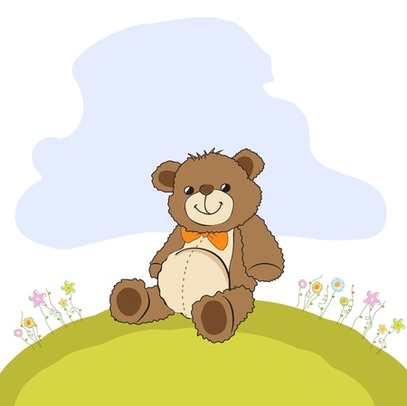 card with a teddy bear Vector