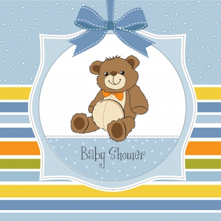 newborn baby girl: baby shower card with cute teddy bear toy Illustration
