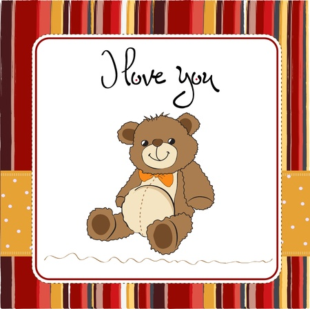 love card with a teddy bear Vector